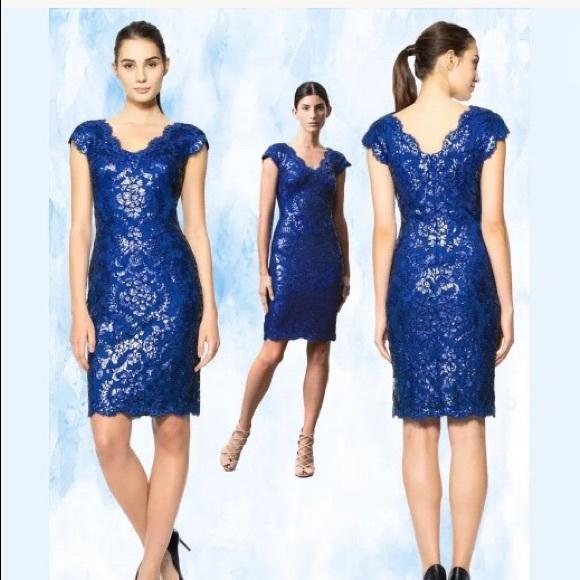 eea68556c20ae0 Tadashi Shoji Dresses | Tadashi Bright Blue Sequin Sheath Sparkle ...
